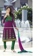 purple & Green salwar suit Material