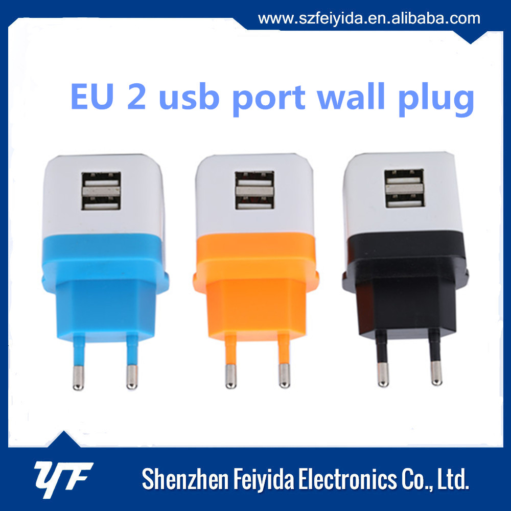 Portable universal dual port travel wall charger , USB cell phone charger with OEM ODM service