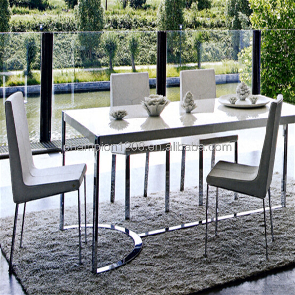 Customized marble top dining table designs with stainless steel base