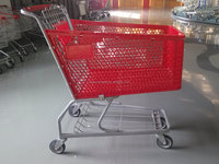 retail wal-mart style supermarket plastic shopping cart on wheels