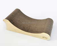 Recycled paper Corrugated cat scratcher lounge wooden Cat Bed