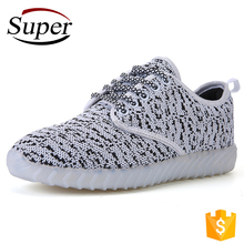 Wholesale Zapatos China Flyknit Kids Shoes 2017 Yezzy Girl Shoes With Led Light