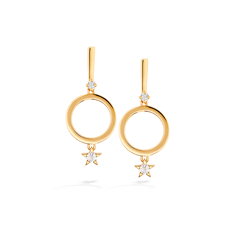 fashion jewelry 24kt gold cubic zirconia earring stud set