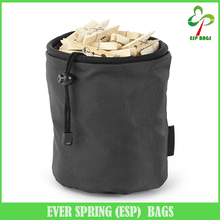Custom size drawsting closure hanging peg bag, clothespin bag with carabiner