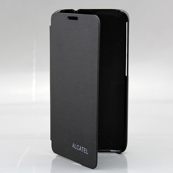 2014 new flip battery leather back case for Alcatel 6030