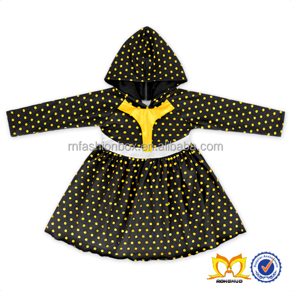 Halloween Black Long Sleeves Dress Kids Clothes Girls Dress Baby Cotton Frocks Designs