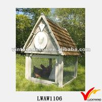 Vintage White Wooden and Cast Iron Metal Chicken Coop