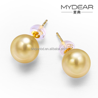 Wholesale jewelry stud earring/ the south sea gold pearls, 18k gold earring design