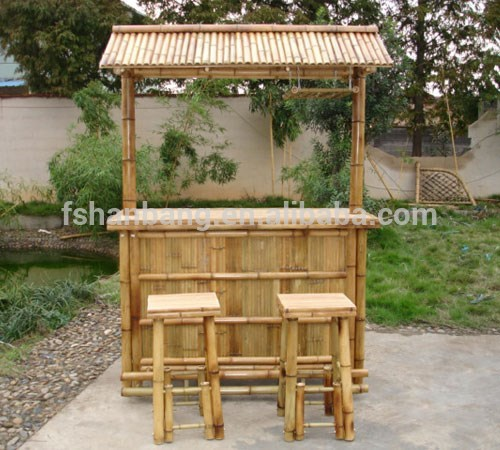 outdoor bamboo counter tiki bar table chair stool set. Black Bedroom Furniture Sets. Home Design Ideas