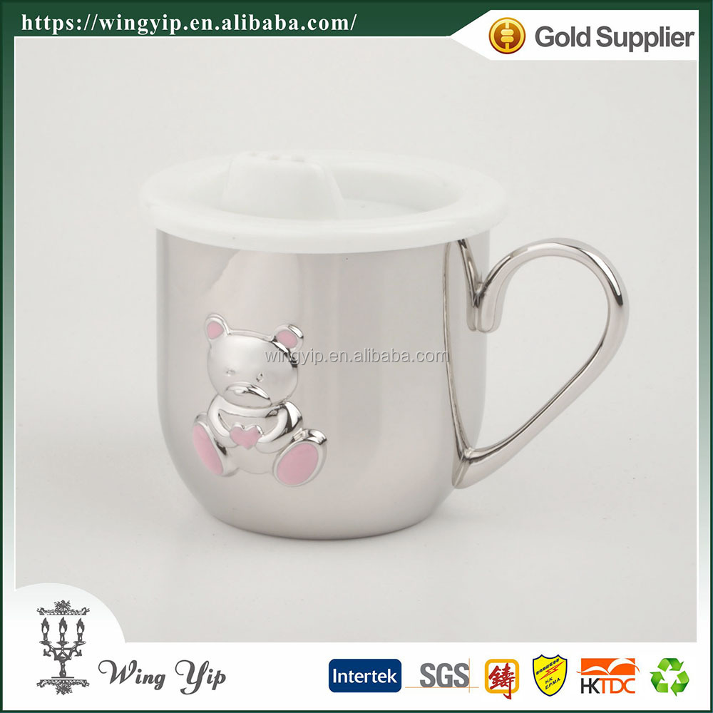 Wholesales tailor made Baby Souvenir Bear Chrome Plated Cup