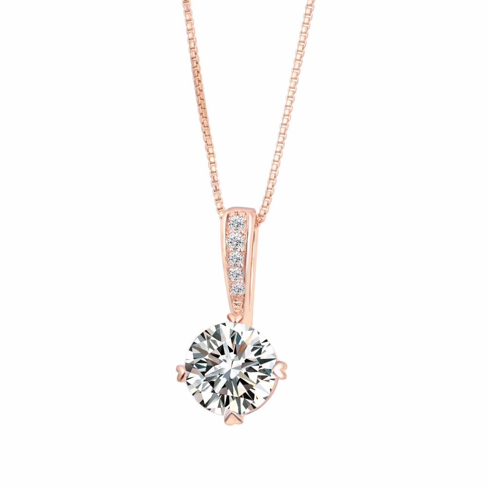 Fashion Double Fair OL Style Cubic Zirconia Chain Necklaces Rose Gold Color Crystal Wedding Jewelry For Women