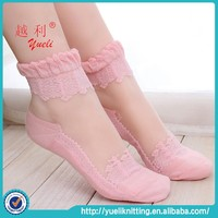 2015 Japanese sexy sheer compression fancy lace boat sock for women