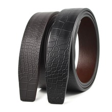 Men's Fashion Accessories Crocodile and Snake Texture Real Leather Belt Strap without Buckle