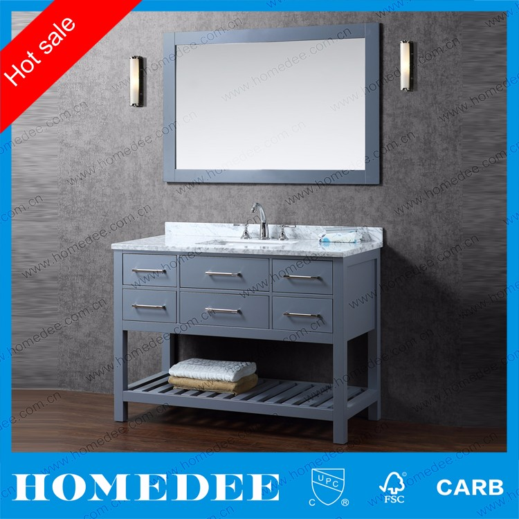 hotel cheap and classical solid wood bathroom cabinet made in china