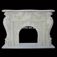 Italian White Marble Fireplace Mantel With Floral Design