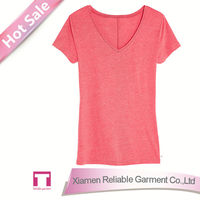 Blank v neck t shirt printing wholesale woman t shirt printing/ custom printed t-shirt
