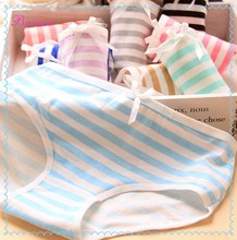 Wholesales women briefs stripe cotton panties with different colors sexy women underwear
