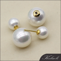 Latest design of stud double sided artificial pearl earrings