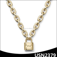 three plating colors thick chain lock charm alloy personalised name necklace