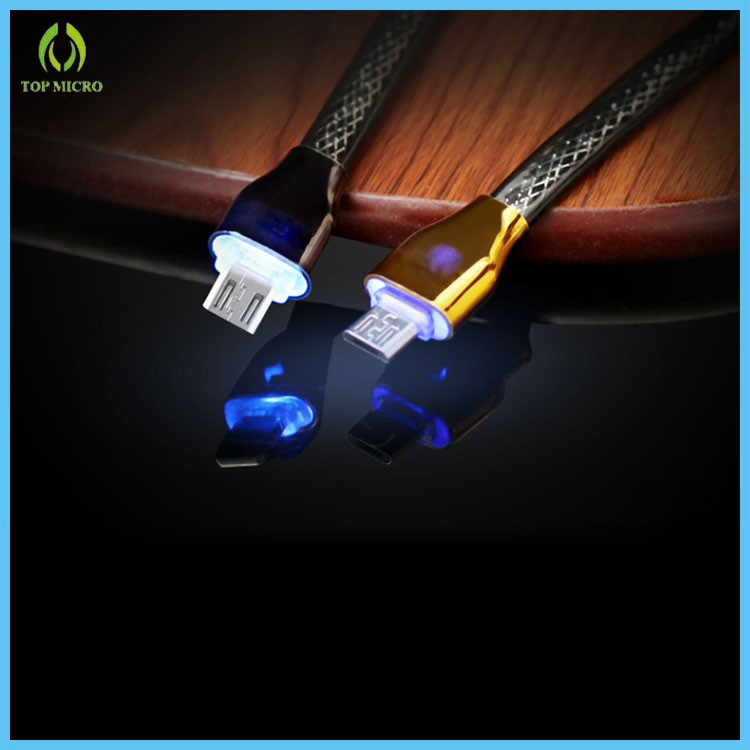 2016 Latest Model Micro Data Line With LED Snake Skin Mobile Phone USB Cable For Samsung