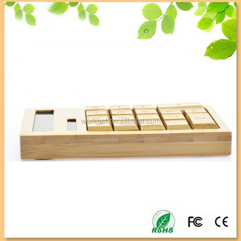 wholesale solar electronic calculator bamboo, natural bamboo wood calculator 12 digits for Christmas gift