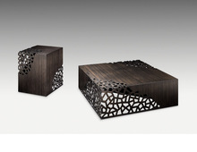 Modern design for living room square solid bamboo <strong>furniture</strong> carved lattice coffee table