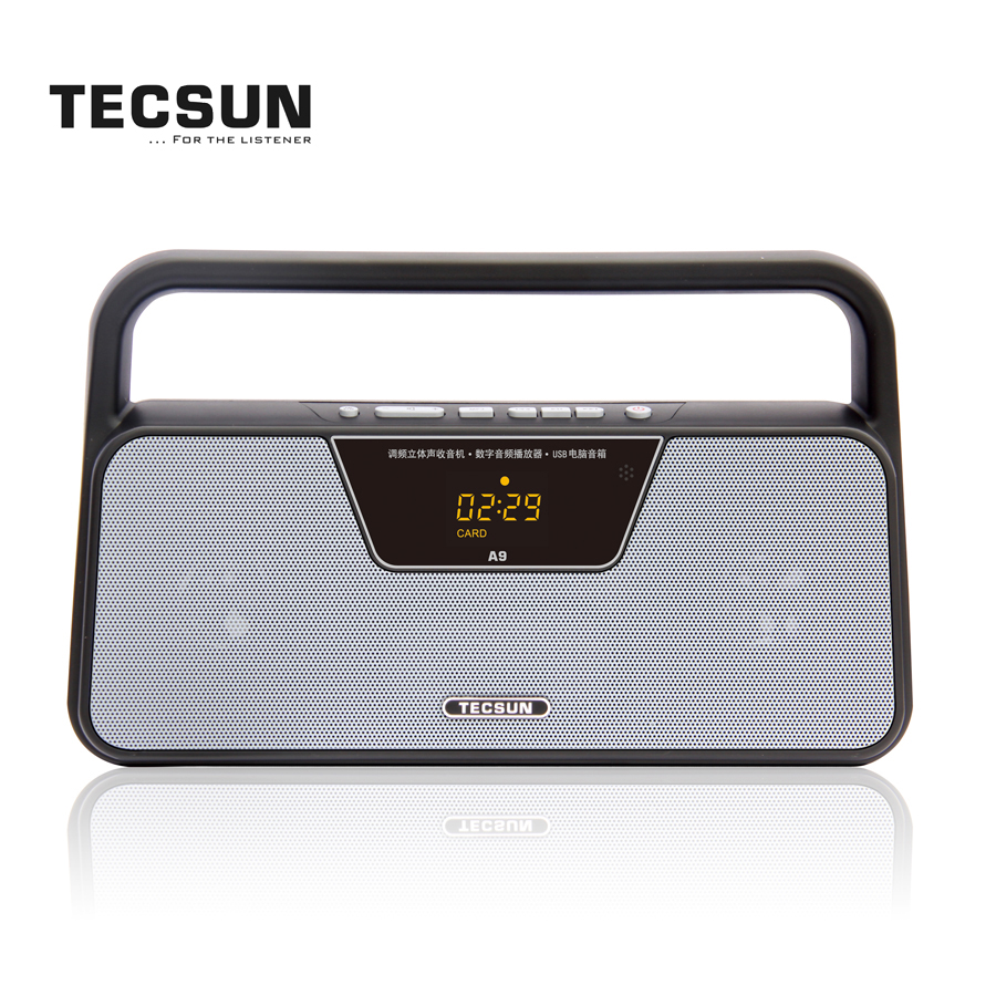 TECSUN A9 Dual Speaker FM Radio Receiver with MP3 through AUX In, Micro-SD and USB