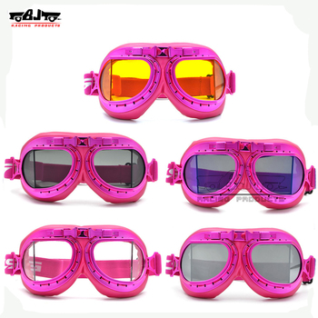 BJ-GT-016 Pink Color Goggles Glasses Vintage Pilot motorcycle For Harley