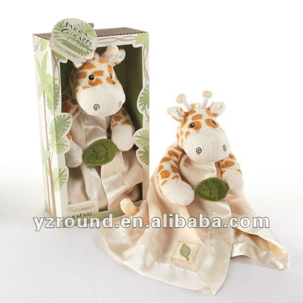 giraffe Little Expeditions Plush Rattle Lovie with Crinkle Leaf