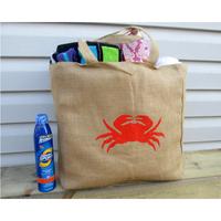 wholesale acceptable jute tote bag crab summer burlap beach hand bag