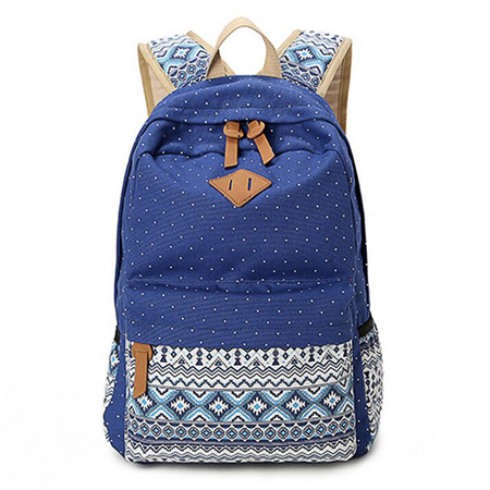 2015 Vintage Girl School Bags For Teenagers Cute Dot Printing Canvas Women Backpack Mochila Feminina Casual Bag School Backpack