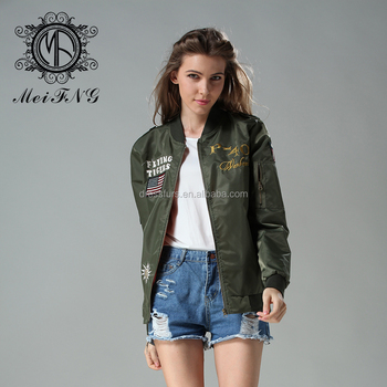 Fashion design hotsale women bomber jacket army style nylon women jacket with embroidery