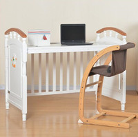 New Zealand imported natural solid wood baby crib change to desk,fashional baby cribs with delicate paint
