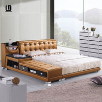 wooden double bed with drawers storage bed