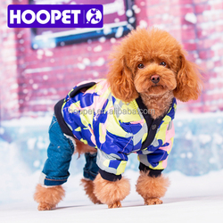 Dog clothes display winter ski suit and denim jeans dog jumpsuit