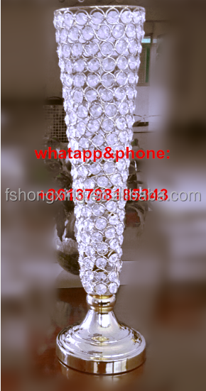 Latest Design Metal crystal Flower Pot for event decor