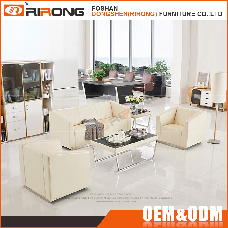 High quality modern leather sofa set white low price office sofa design