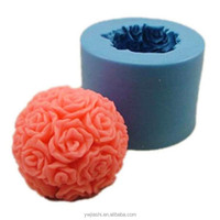 JSF559-Silicone Tealight candle making form molds/ Silicone Rose Ball candle mold
