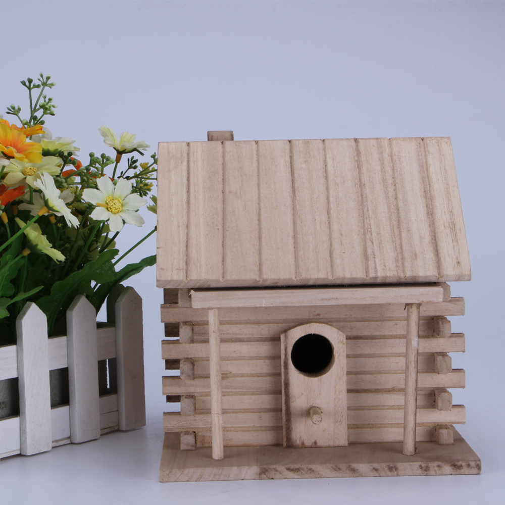 Small new unfinished wooden craft bird house wholesale ,decorative small bird cage for decoration