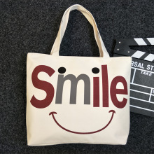 Hot sale wholesale custom smile logo printed organic cotton tote beach carry bag