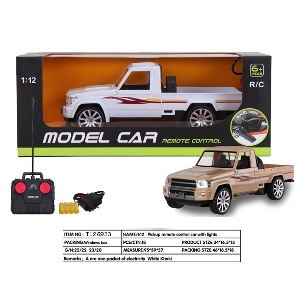 1:12 pickup rc car with light remote control car