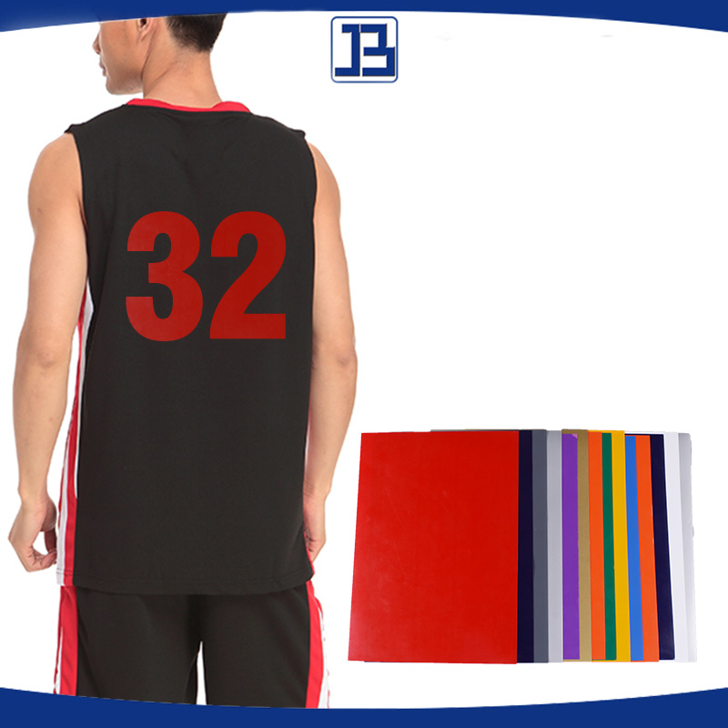 "Jiabao 22 Colors DIY A4 / 10""*12"" / 12""*12"" / 12""*15"" pu heat transfer vinyl film for basketball Jersey"
