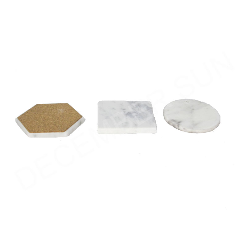 wholesale white marble stone slate cup coasters with metal stand set