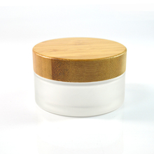 30g 30ml 50g 50ml Environmental Bamboo Lid Empty Cosmetic Container Frosted Glass Cream Jars