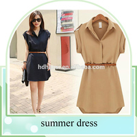 fashion summer style women short sleeve Chiffon Dress with Ruffles Belt