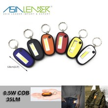 Button Battery Powered Portable Mini 0.5W COB 35LM LED PVC LED Keychain