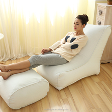 100% polyester with pvc coating bean chaise lounge recliner with foot rest sitzsack