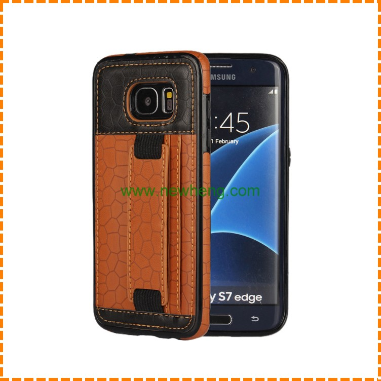 Leather hand strap back cover case with card slots phone case for Samsung Galaxy S7 Edge
