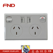 SAA approved Double USB powerpoint GPO wall switch for Australia market
