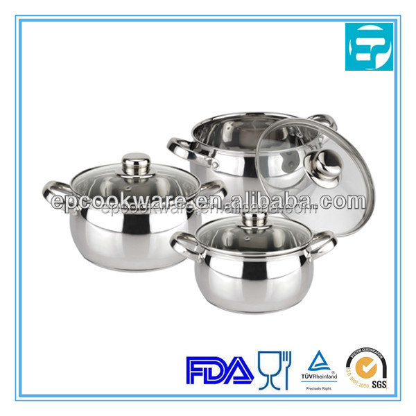 6pcs stainless steel pot compatible cookware with SS handle and super capsule bottom